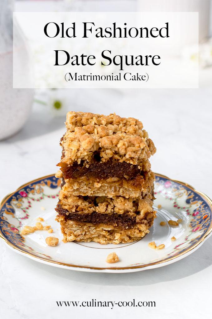 Old Fashioned Date Square aka Matrimonial Cake