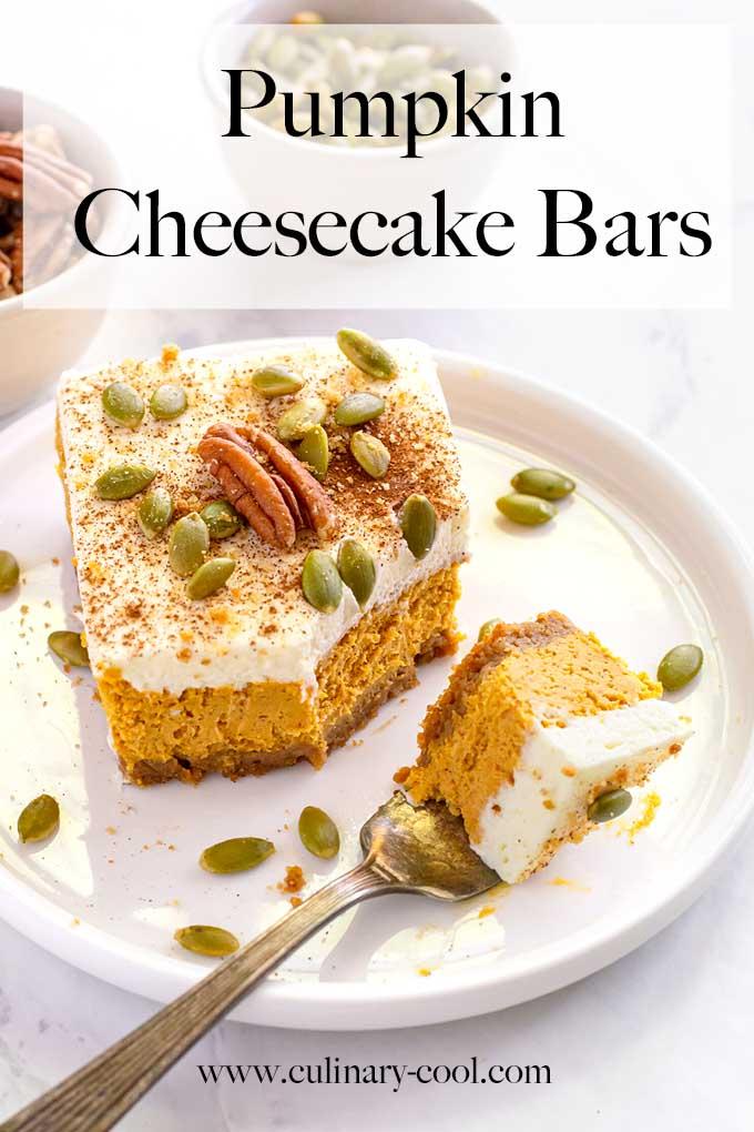 Pumpkin Cheesecake Bars with a Gingersnap Crust