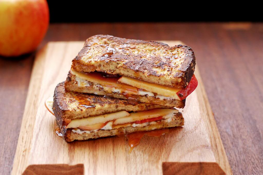 French Toast Grilled Cheese with Apples and Caramel