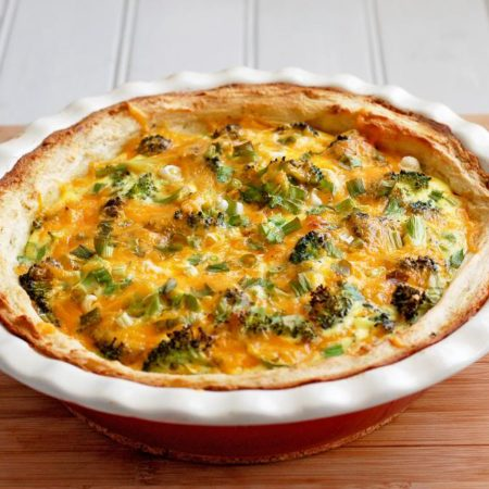 Broccoli and Cheddar Quiche with Mashed Potato Crust