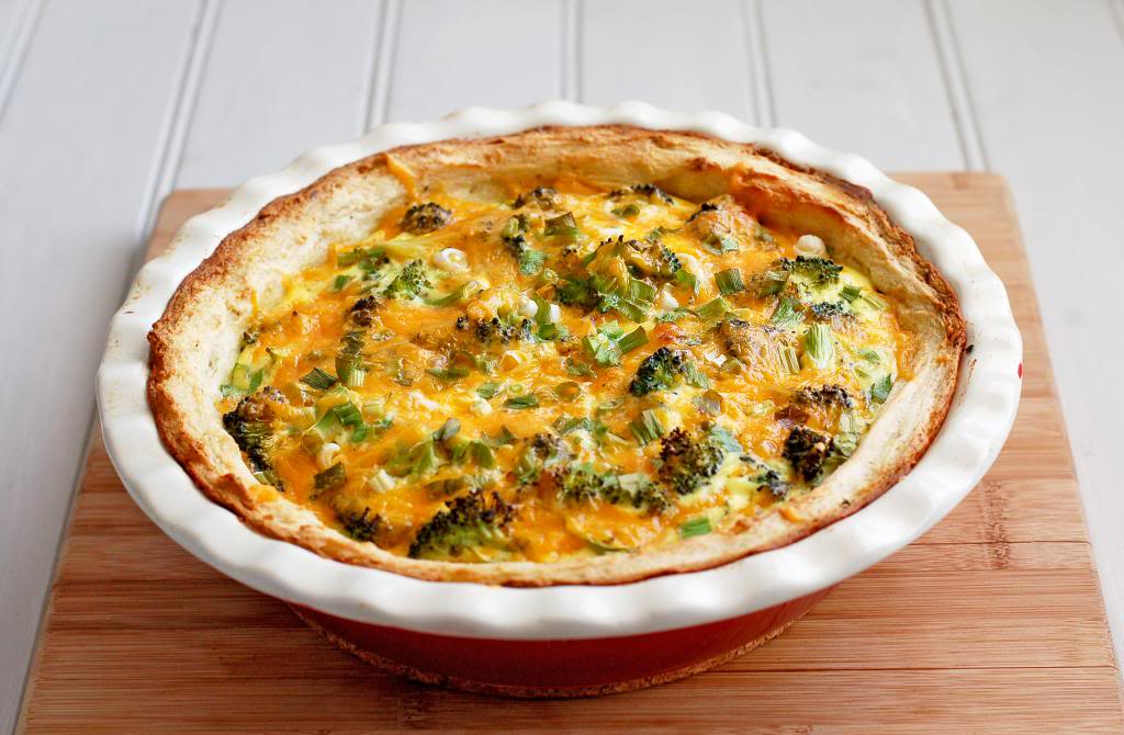 Broccoli and Cheddar Quiche with Mashed Potato Crust | Culinary Cool