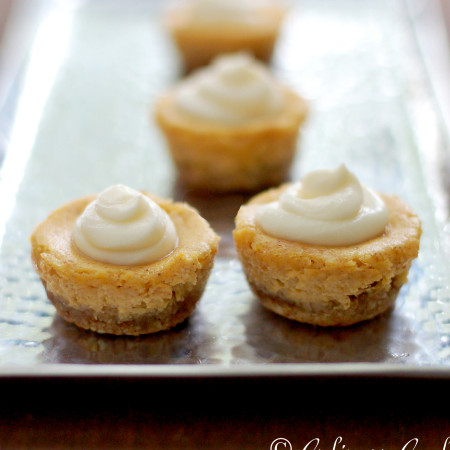 Mini Pumpkin Cheesecakes with Almond Crust