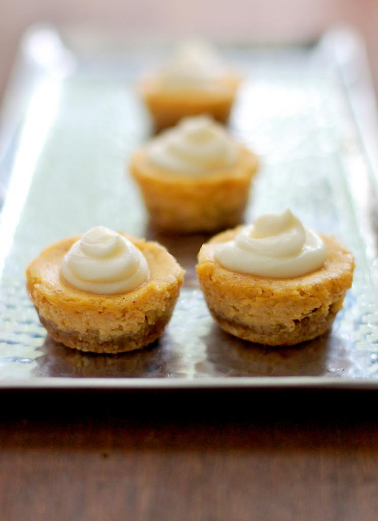 Mini Pumpkin Cheesecakes with Almond Crust | Culinary Cool