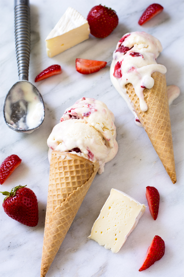 No Churn Brie Ice Cream with Roasted Strawberries | Culinary Cool