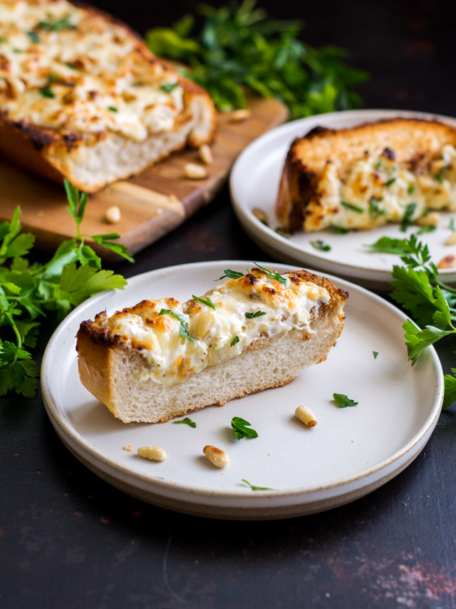 Cheesy Garlic Bread with Pine Nuts | Culinary Cool www.culinary-cool.com
