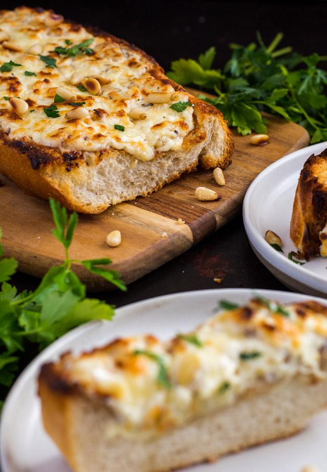 Cheesy Garlic Bread with Pine Nuts | Culinary Cool www.culinary-cool.com