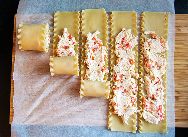 Roasted Red Pepper and Boursin Chicken Lasagna Roll Ups | Culinary Cool www.culinary-cool.com