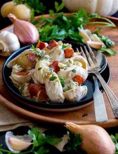 Warm Potato Salad with Blue Cheese and Bacon