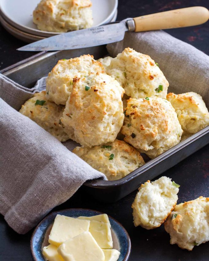 Goat Cheese and Scallion Drop Biscuits | Culinary Cool www.culinary-cool.com