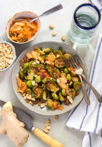 Roasted Brussels Sprouts with Kimchi and Bacon