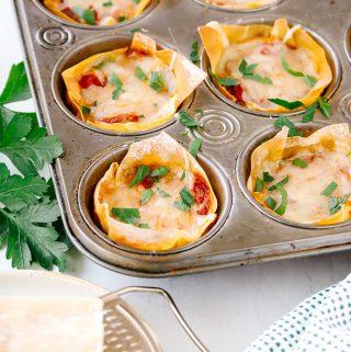 Mini lasagnas in a muffin tin
