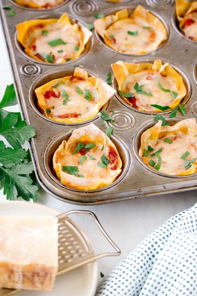 Mini lasagnas in a muffin tin