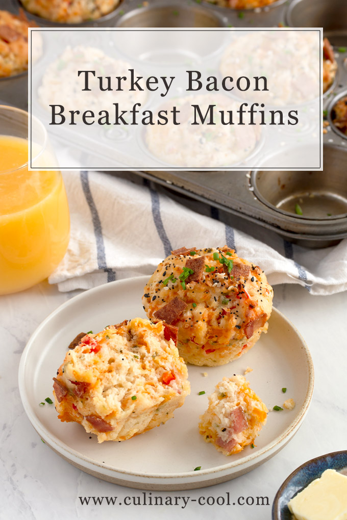 Turkey Bacon Breakfast Muffins | A cross between a drop biscuit and a muffin | Culinary Cool