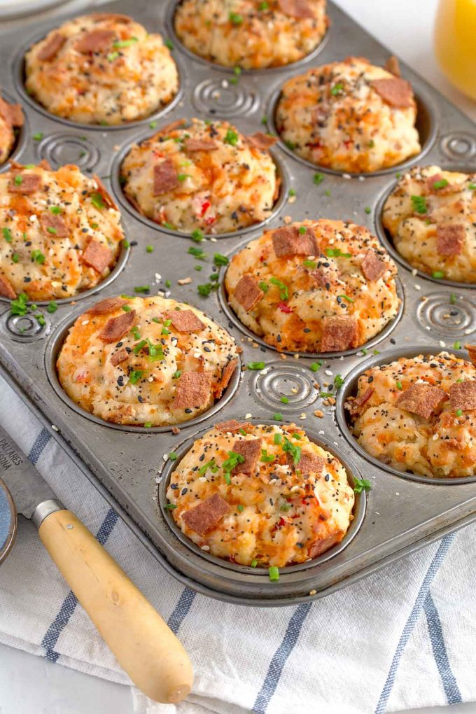 top-down shot of muffins in a muffin tin