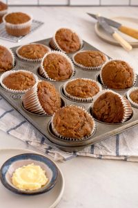 muffin tin with 12 muffins sitting in the cups